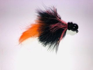 """Halloween"" Black  Head w Orange Salmon Twitching Jig"